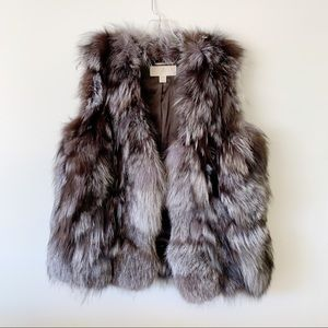 Michael Kors Silver Black Fox Fur Vest
